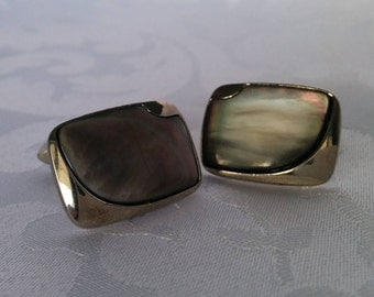 Black Mother of Pearl Cufflinks, Silver Tone and Mother of Pearl Cufflinks, Cufflinks, Black Cufflinks