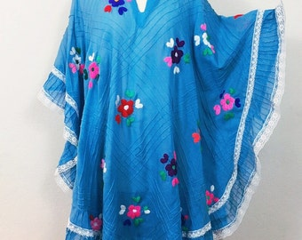 70s Mexican Folk Dress, Cotton Gauze Embroidered Mini Butterfly Sleeve Caftan, Vintage 1970's Boho Hippie Dress. Size S M L