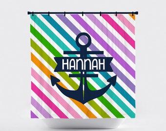 Shower Curtain, Horizontal Stripe, Striped, Preppy, Nautical, Anchor,  Rainbow Stripes