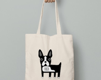 Personalized tote bag, Boston Terrier canvas tote bag with custom name
