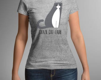Crazy cat lady t-shirt, women's cat t-shirt, gray and white crew neck, gift for her