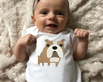 Bulldog baby clothes, baby bodysuit for baby boy, baby girl, Bulldog baby gift