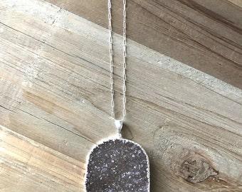 Large Druzy Pendant - Natural Druzy Necklace - Silver Druzy Necklace - Gray Druzy Pendant Necklace
