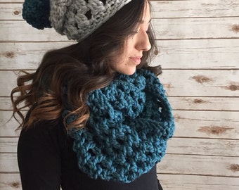 Teal and Silver Grey Chunky Oversized Infinity Scarf & Pom Pom Hat Set,  Extra Wide Infinity Scarf, Gift Set, Winter Accessories
