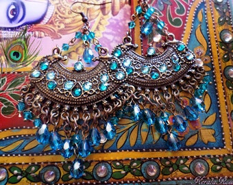 Peacock Teal Crystal Ethnic East Indian Chandelier Earrings, Swarovski Rhinestone Boho Jewelry, Exotic Gypsy, Bronze Antique, Color Options!