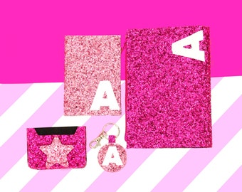 Personalised Pink Glitter Clutch Bag, Passport Cover,  Keychain,  Card Holder,  Christmas Gift Idea