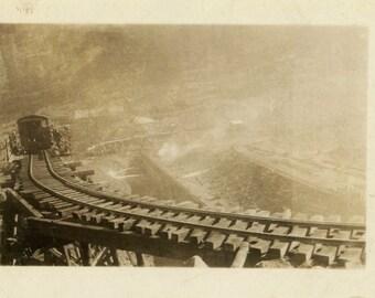 "Vintage Photo ""Working on the Railroad"" Mining Men Snapshot Antique Photo Old Black & White Photograph Found Paper Ephemera Vernacular - 181"