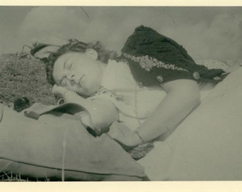 "Vintage Photo ""Dreaming of Wild Horses"" Woman Girl Snapshot Antique Photo Old Black & White Photograph Found Paper Ephemera Vernacular - 183"
