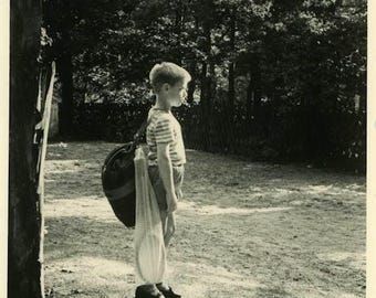 """Vintage Photo """"He Will Conquer Camping"""" Snapshot Antique Photo Old Black & White Photograph Found Paper Ephemera Vernacular - 177"""