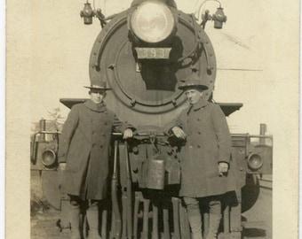 "Vintage Photo ""Train Riders"" Military Men Soldier Railroad Snapshot Photo Old Antique Black & White Photography Found Paper Ephemera - 93"