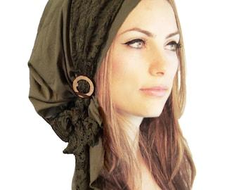 Olive Green Head Scarf Boho Chic Pre Tied Bandana Tichel Hair Snood Chemo Head Scarf Hat Floral Lace Handmade Coconut Buckle ShariRose - 131