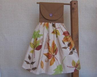 Autumn Leaves Hanging Kitchen Tea Towel, Hand Towel, Hanging Dish Towel