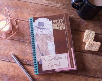 Steampunk journal, A Gentleman's Journal, Steampunk notebook, Gift for him, men, hipster. Decorated with collage, mixed media and pyrography
