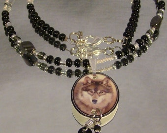 Wolf Face Photo Art Necklace - Wolves Jewelry - Southwestern Jewellery
