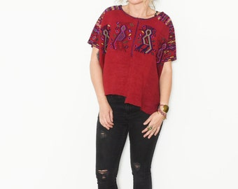 Vintage Huipil Top, Ethnic Embroidered Blouse , Tribal Top