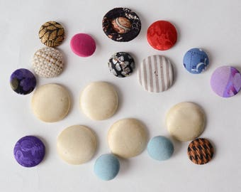 """Vintage Lot Fabric Covered Shank Buttons 3/4"""" - 1 1/8"""" - B4B"""