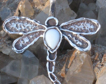 Primitively Beautiful Sterling SIlver Dragonfly with a White Opal. Dragonfly Charm.Wildlife Jewelry. Animal Charm. Garden Jewelry.