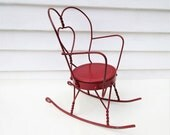 Vintage Doll Rocking Chair, Metal Doll Chair, Small Rocker