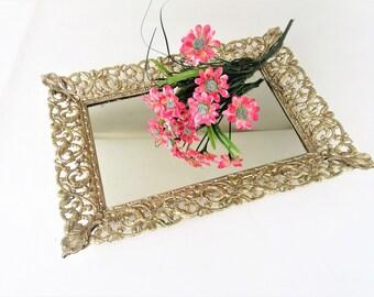 Vintage Vanity Tray | Brass Mirrored Tray | Gold Frame Mirror | Dresser Tray | Bathroom Organizer