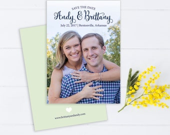 Contemporary Navy and Green Photo Save The Date