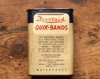 Vintage Rexall Firstaid Quik-Bands Bandaid Box
