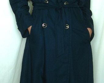Navy Blue Vintage Trench with Gold Buttons