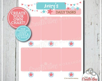Create Your Own Chart! | Routine Chart | Chore Chart | Chart for Cards | Pink | Editable Name and Title | Daily Routine | Printable Chart