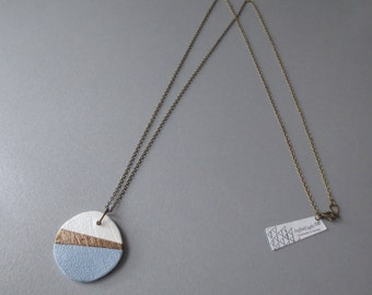 Kao - Long Handmade Minimalist Pendant Necklace; Geometric Pastel Blue, Brass, Cream Color Block Geo (Collier Bleu Laiton) by InfinEight
