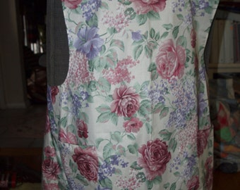 All cotton Japanese style apron; cross back; Roses & lilacs fabric; cotton XXL