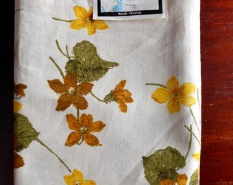 "Tablecloth Belgium Linen 52""x70"" Fallani & Cohn Luther Travis Design Falflax Hand Printed New old stock Farmhouse Wedding"