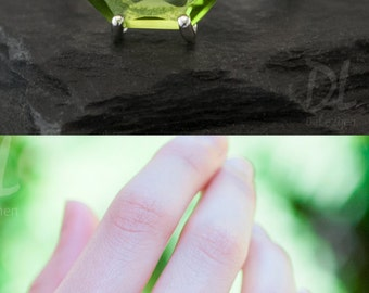 Green Peridot Ring Silver, August Birthstone Ring, Stackable Birthstone Ring, Gemstone Ring, Sterling Silver Ring, Marquise Prong Set Ring