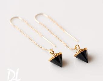 Black Onyx Earrings - Spike Earrings - Gold Ear Thread Earrings - Ear Threader Earrings - Minimal Jewelry - Long Gold Dangle Earring