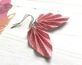 Origami Leaf Earrings // Pink Typewriter