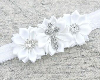 Baptism headband - Christening headband - Cross headband - Baptism hair bow -  Cross baptism headband -  White baptism headband
