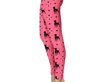 Pit Bull Love Leggings, Capris or Yoga Pants • Pink •  Pittie Staffordshire