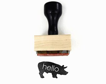 Rubber Stamp Hello Pig - Hello From the Farm Hog, Cabin Notes Stamp by Creatiate