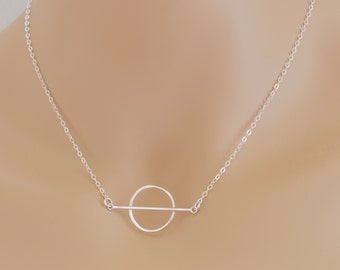 Circle Bar Necklace, Bar Pendant, Sterling Silver, Circle Bar Pendant, For Her, Geometric Necklace, Geometric Jewelry, BeadXS, Gift Idea
