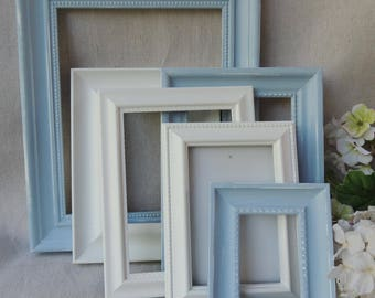 6 Picture Frames / Blue and White Picture Frames / Nursery Picture Frames / Gallery Picture Frames / Frame with Glass / Picture Frame Set