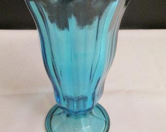 Anchor Hocking Teal Blue Ice Cream Sundae / Milk Shake Glass