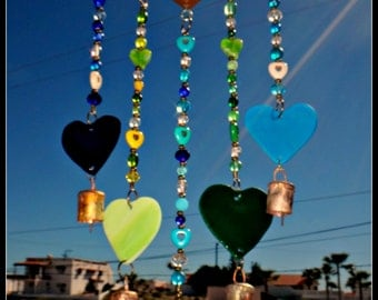 Heart wind chime,  Stained Glass Heart,  Glass chime, Mobile, Sun Catcher,  outdoor decor, wood heart chime, heart mobile