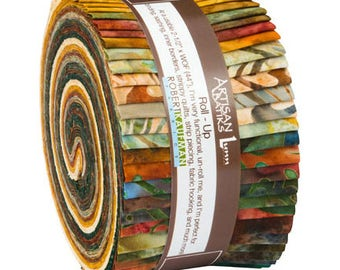 Kaufman Batik Fabric Strips, Meadow Colorstory, Jelly Roll Rollup, RU-612-40, Quilting