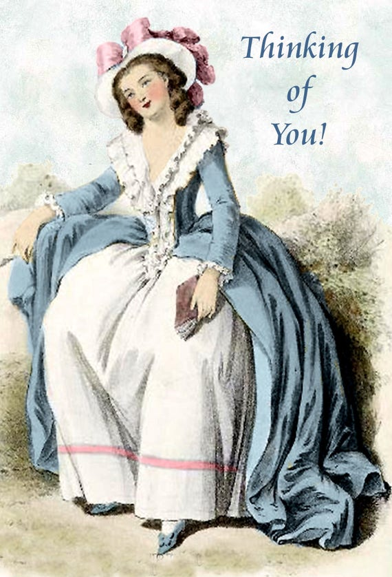 Thinking of You! Marie Antoinette Postcard. Card. Gift For Her. Blue Dress. Marie Antoinette Dress. Greeting Card. Free Shipping.