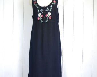 Embroidered Sun Dress - Black Early 90s Maxi - Vintage Folk Sleeveless Summer Dress - Medium M / Large L