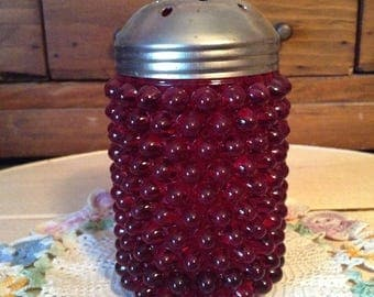 Hobnail Glass Shaker - Ruby Color