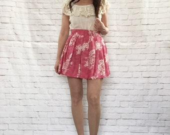 Vintage 90s Micro Mini Skirt S M Pink White Rose Floral Pleated Upcycled