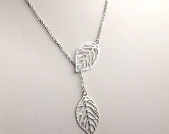 50% OFF Leaf Lariat Necklace. Silver Leaf Necklace. Leaf Necklace in Silver. Silver Branch Lariat. Leaf Lariat.Sterling Silver. Bridesmaid