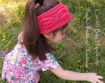 Girls knit headwrap,knit earwarmer,girls knit headband,summer headwrap,custom knit,cabled headband,rosebud embossed,messy bun,coral,red,knit