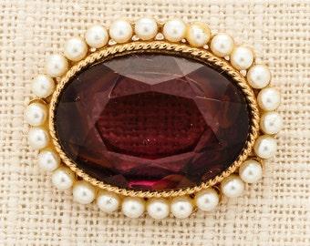 Purple Gold Pearl Amethyst Brooch Vintage Oval Rhinestone Broach Costume Jewelry | Vtg Pin 16C