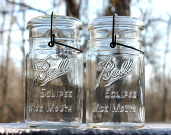 2 Ball ECLIPSE Round WIDE MOUTH Quart Jars w/Glass Lids & Metal Bails ~ Farmhouse Kitchen ~ Countertop Pantry Storage - Insurance w/Shipping