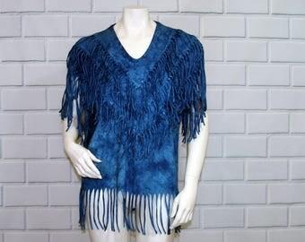 Vintage 90's Blue Tie Dye Sleeveless Fringed T-shirt / Size Medium